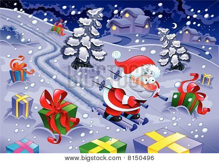Santa Claus skiing in the night.