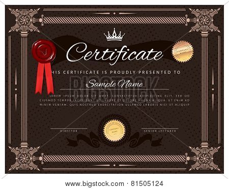 Vintage Certificate Template With Detailed Border And Calligraphic Elements - Album Orientation