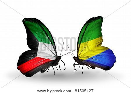 Two Butterflies With Flags On Wings As Symbol Of Relations Kuwait And Gabon