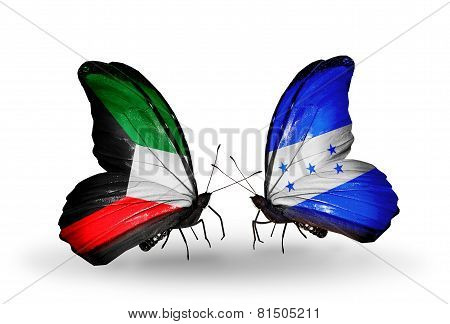 Two Butterflies With Flags On Wings As Symbol Of Relations Kuwait And Honduras