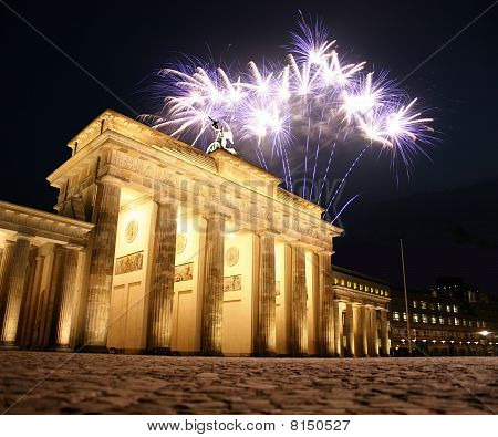 Firework at the Brandenburg Gate in Berlin