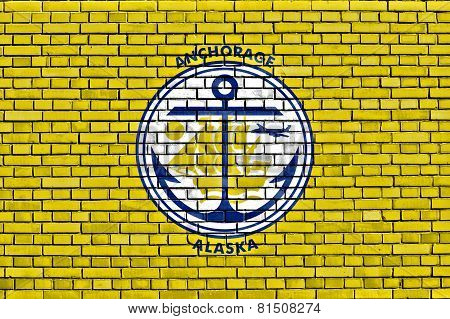 Flag Of Anchorage Painted On Brick Wall