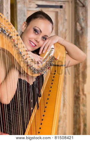 woman playing the harp instrument