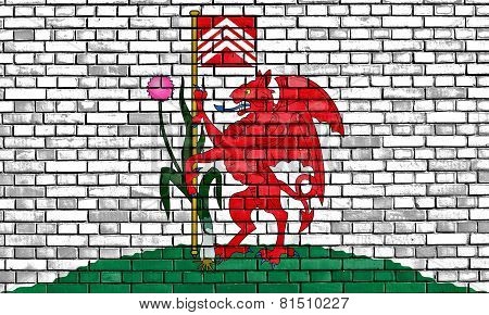 Flag Of Cardiff Painted On Brick Wall