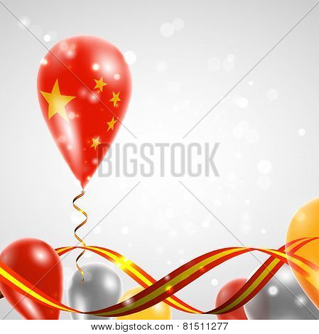 Flag of China on balloon