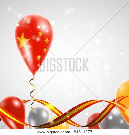 Flag of China on balloon