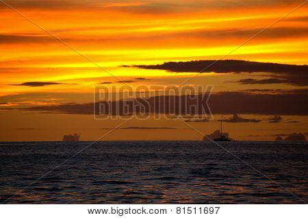 Maui sunset with ship
