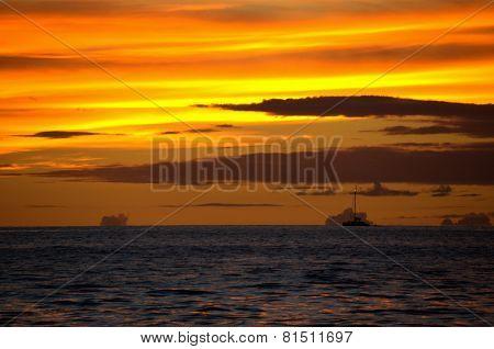 Maui sunset with ship