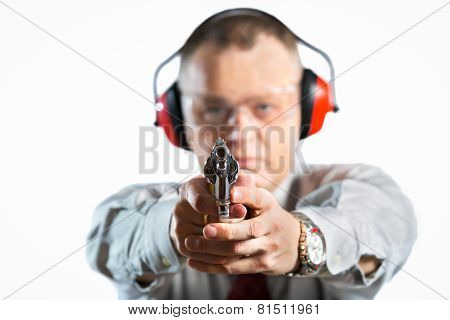Man shooting, isolated on white, studio shoot