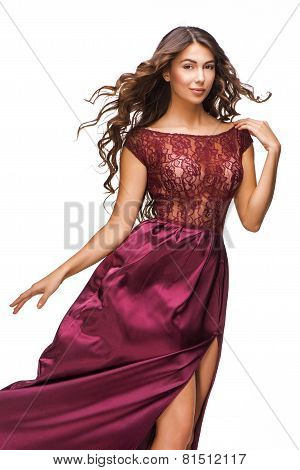 Portrait of beautiful woman wearing evening dress