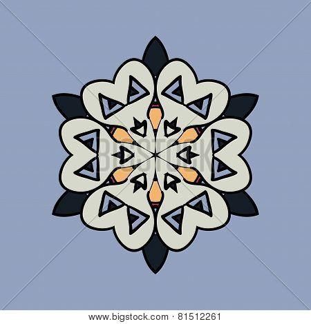 Mandala on light blue gray background. Vintage design elements. Tribal  like motif. Flayer template