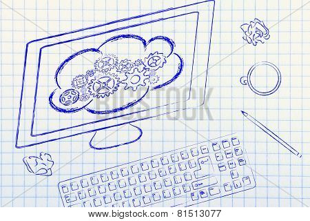 Computer With Cloud Computing On Its Screen