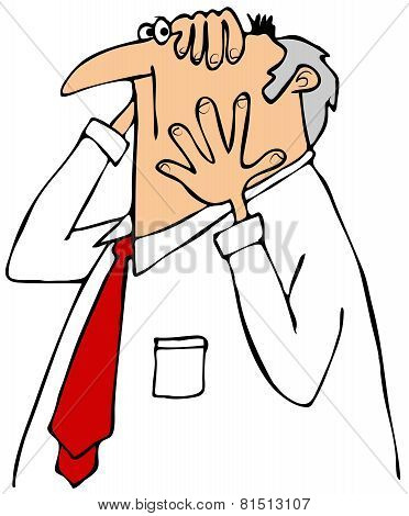 Worried businessman cartoon