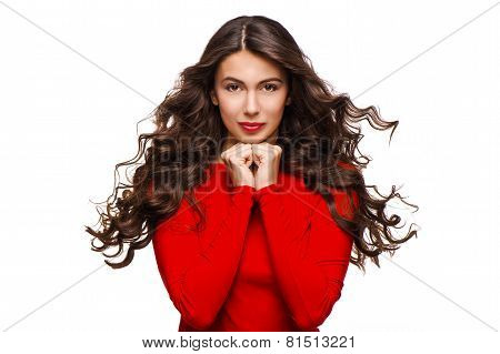 Gentle beautiful woman with curly hair