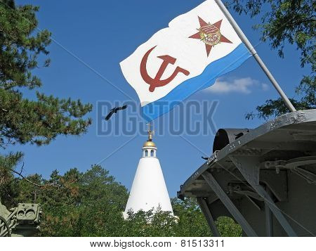 Flag Of The Navy Of Russia On The Background Of The Chapel On Sapun Mountain