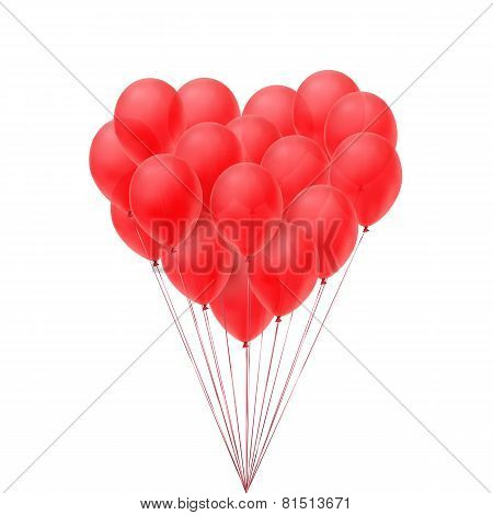 Red balloons in form of heart