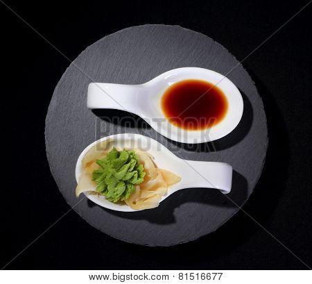 Wasabi And Soy Sauce As Yin And Yang Symbol