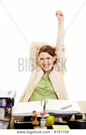 Woman In Office Stretching