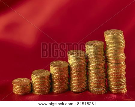 gold coin arranged forma graph