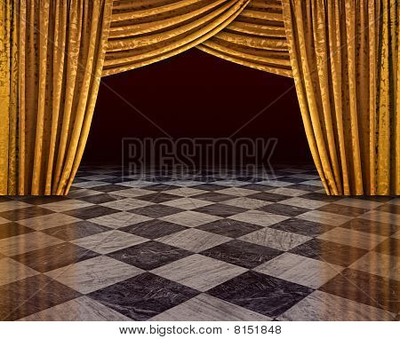 Golden Curtains Stage