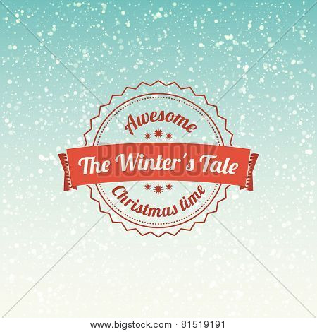 Snowfall illustration with vintage badge