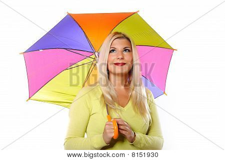 Portrait Of Pretty Autumn Woman Standing Under Umbrella. White Background