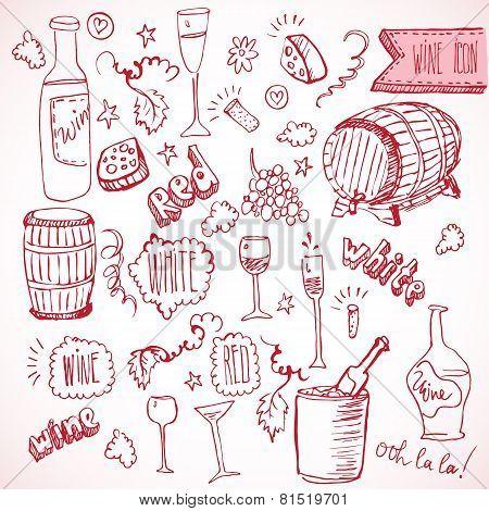 Wine sketch and vintage doodles