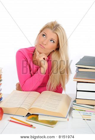 Young Pretty Tired Student Girl With Lots Of Books Thinking. Isolated On White Background