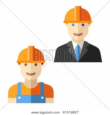 engineer worker flat avatar set