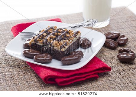 Fresh Peanut Butter Chocolate Brownie And Chocolate Covered Pecans