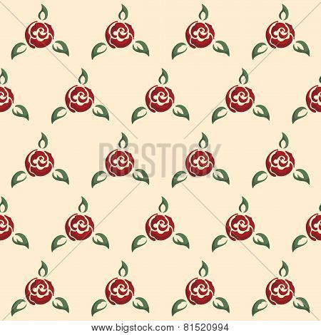 Rose seamless pattern, pin-up style