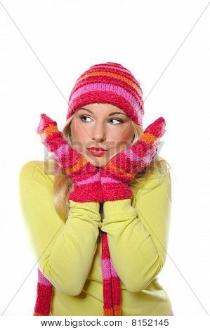Seasonal Portrait Of Pretty Funny Woman In Hat And Gloves. White Background