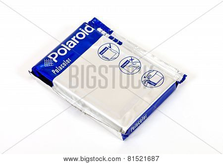 Cassette For Instant Camera Polaroid Over White Background