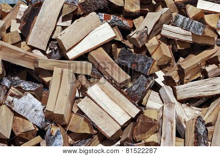 Big Heap Of Fresh Firewood