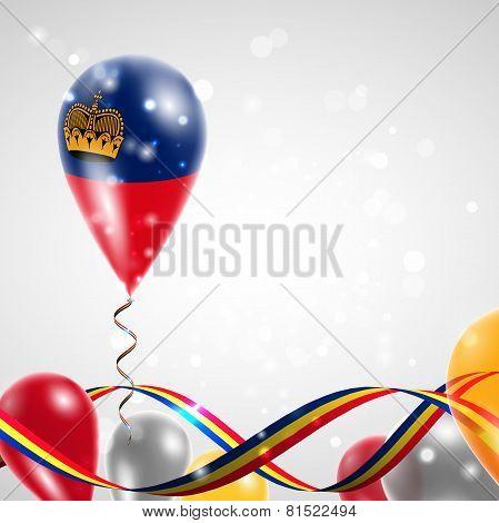 Flag of Liechtenstein on balloon