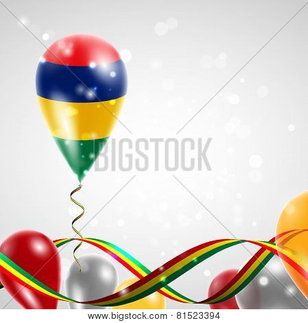 Flag of Mauritius on balloon