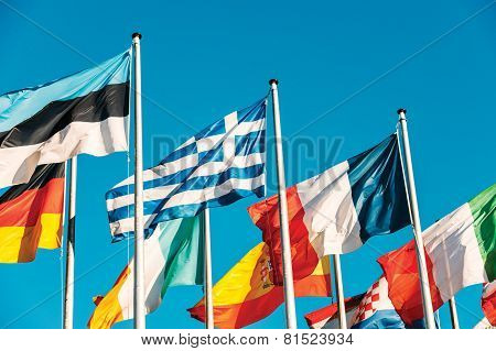 Greece Flag Waving In Front Of European Parliament