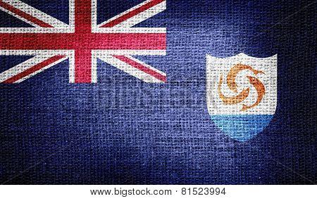 Anguilla flag on burlap fabric