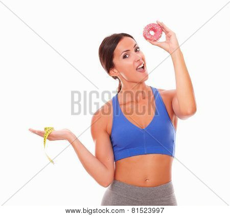 Sporty Young Woman Choosing Sugary Donut