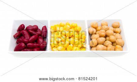 Trio cooked legumes
