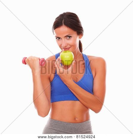 Fit Woman Doing Exercise With Dumbbell