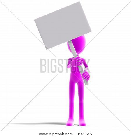 symbolic 3d male toon character show something