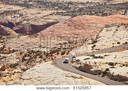Landscape panorama of curved Mountain road