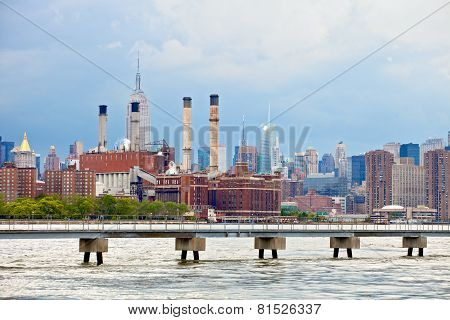 New York City USA industrial factory plant in the city