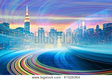 Abstract Illustration of an urban highway going to the modern city