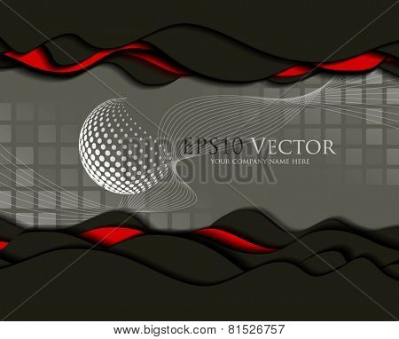Abstract business design and cutout elements on transparent square background
