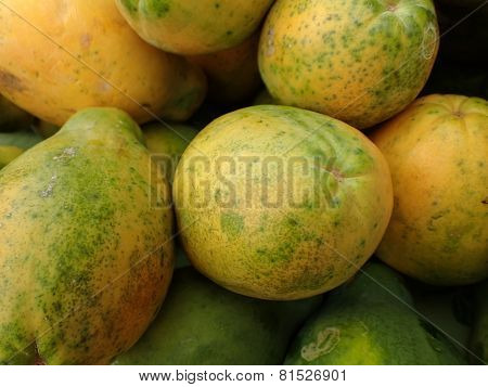 Close-up Of Hawaiian Papayas