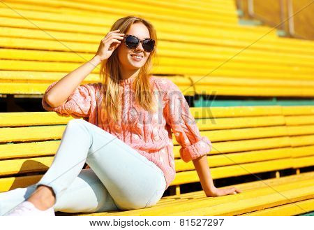 Fashion And People Concept - Pretty Smiling Girl In Sunglasses Outdoors In City, Street Fashion