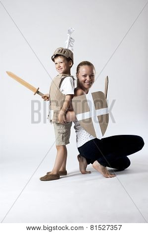 Medieval Knight Child With Mother