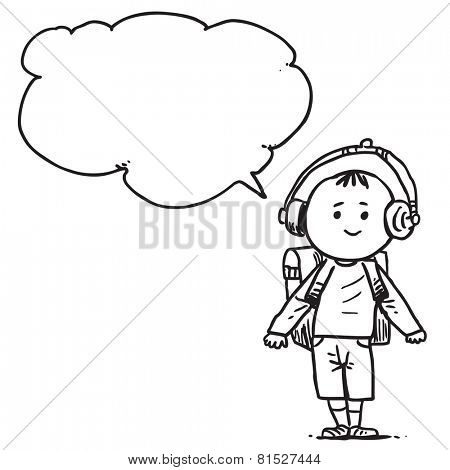 Schoolkid with earphones speaking